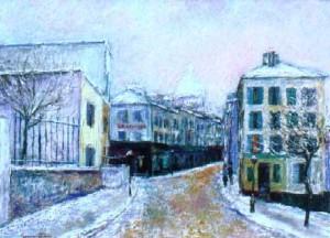 Rue Norvin under snow, Paris